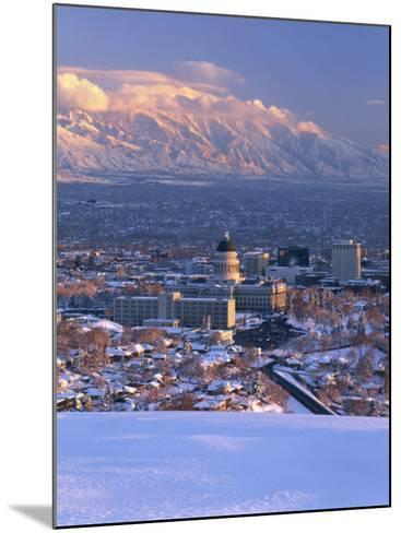 Utah State Capitol with the Wasatch Mountains, Salt Lake City, Utah-Scott T^ Smith-Mounted Photographic Print