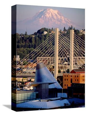 Downtown and Mt. Rainier, Tacoma, Washington-Charles Crust-Stretched Canvas Print