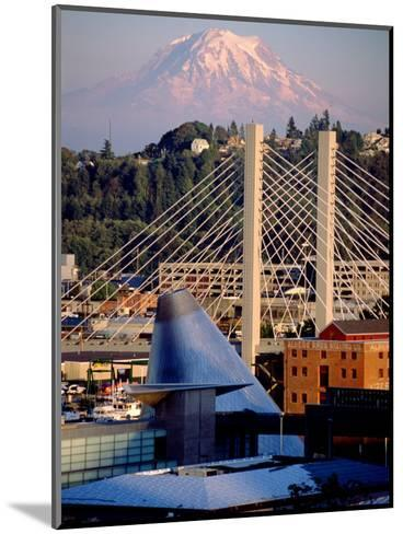 Downtown and Mt. Rainier, Tacoma, Washington-Charles Crust-Mounted Photographic Print