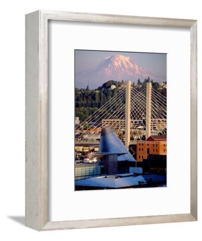 Downtown and Mt. Rainier, Tacoma, Washington-Charles Crust-Framed Art Print