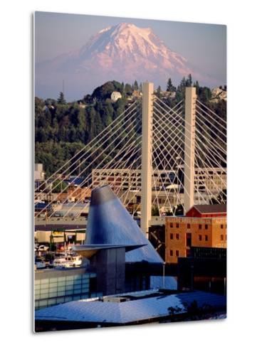 Downtown and Mt. Rainier, Tacoma, Washington-Charles Crust-Metal Print