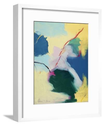 Abstract in Green, Orange, and Yellow-Peggy Brown-Framed Art Print