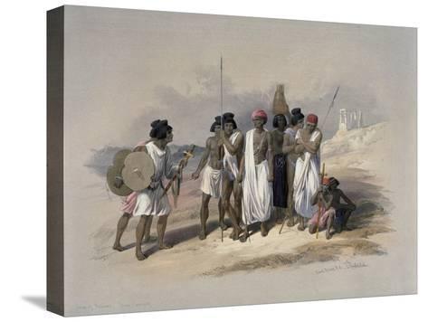 Group of Nubians at Wady Kardassy-David Roberts-Stretched Canvas Print