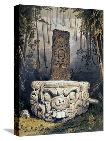 Idol and Altar at Copan-Frederick Catherwood-Stretched Canvas Print