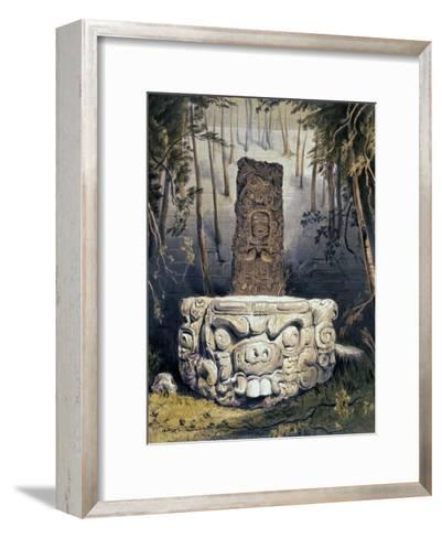Idol and Altar at Copan-Frederick Catherwood-Framed Art Print