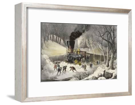 American Railroad Scene in Snow-Currier & Ives-Framed Art Print