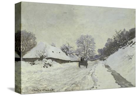 La Charrette, Route Sous La Neige a Honfleur-Claude Monet-Stretched Canvas Print
