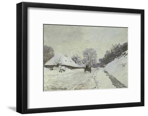 La Charrette, Route Sous La Neige a Honfleur-Claude Monet-Framed Art Print