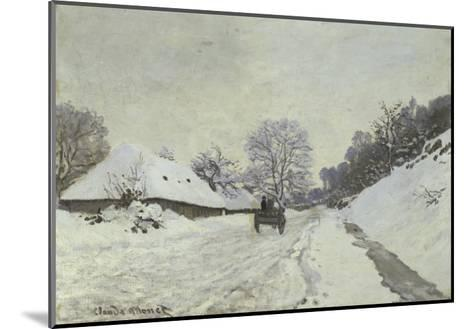 La Charrette, Route Sous La Neige a Honfleur-Claude Monet-Mounted Giclee Print