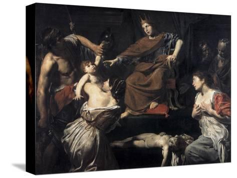 Judgement of Solomon-Valentin de Boulogne-Stretched Canvas Print