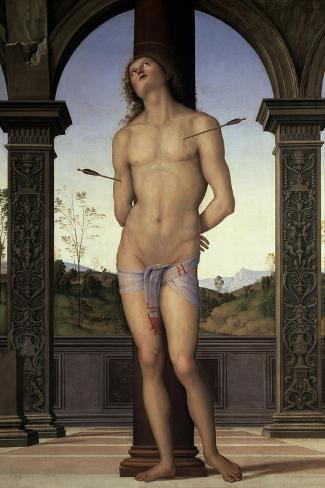 St. Sebastian, 15th century-Pietro Perugino-Stretched Canvas Print