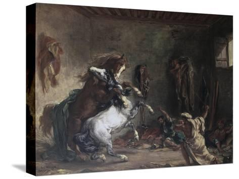 Arabian Horses Fighting in a Stable-Eugene Delacroix-Stretched Canvas Print