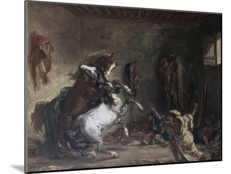 Arabian Horses Fighting in a Stable-Eugene Delacroix-Mounted Giclee Print
