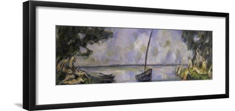 Les Baigneuses et La Barque-Paul C?zanne-Framed Art Print