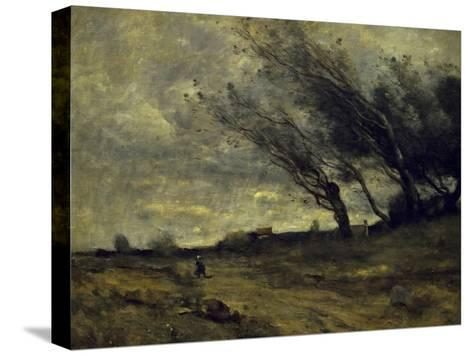 Le Coup de Ventgust of Wind-Jean-Baptiste-Camille Corot-Stretched Canvas Print