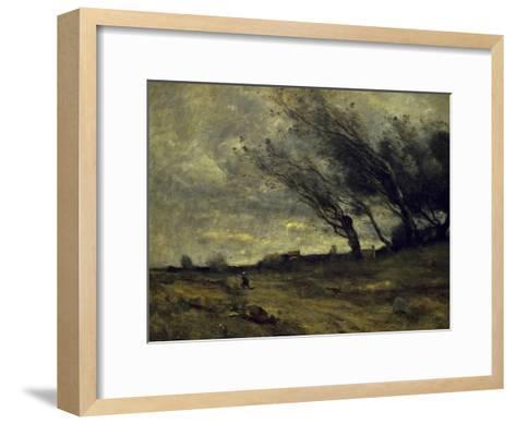 Le Coup de Ventgust of Wind-Jean-Baptiste-Camille Corot-Framed Art Print