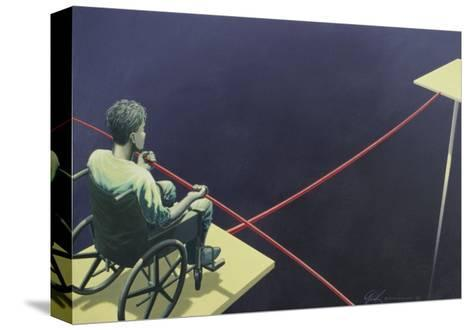 Man in a Wheelchair on a Tightrope--Stretched Canvas Print
