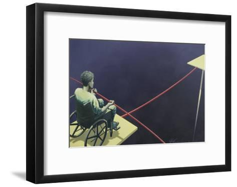Man in a Wheelchair on a Tightrope--Framed Art Print