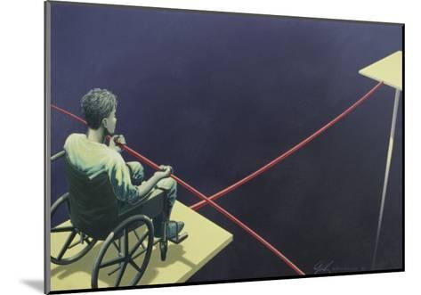 Man in a Wheelchair on a Tightrope--Mounted Giclee Print