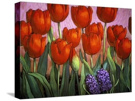 Small Tulips and Hyacinths-John Newcomb-Stretched Canvas Print