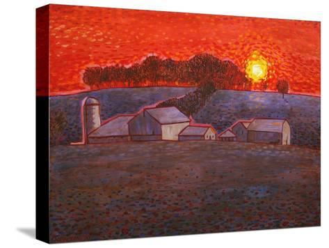Snowy Farm-John Newcomb-Stretched Canvas Print