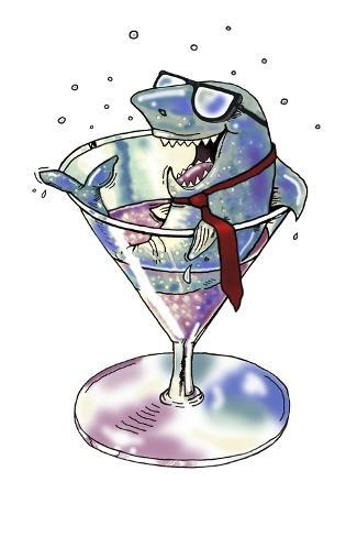 Business Shark in a Glass-Linda Braucht-Stretched Canvas Print