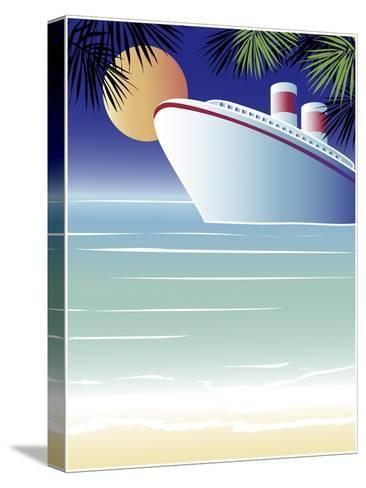 Tropical Cruise Ship-Linda Braucht-Stretched Canvas Print