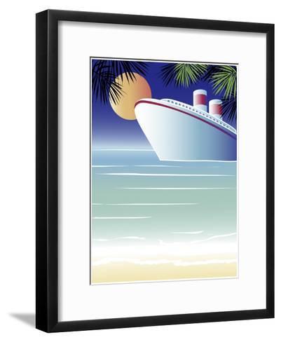 Tropical Cruise Ship-Linda Braucht-Framed Art Print