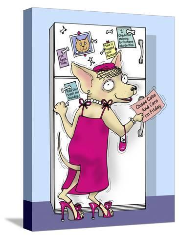 Doggie at the Fridge-Linda Braucht-Stretched Canvas Print