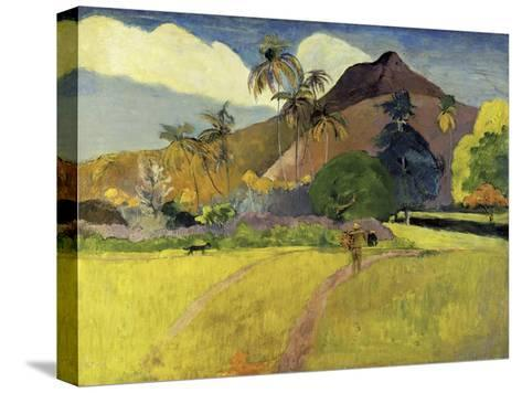 Tahitian Landscape with a Mountain-Paul Gauguin-Stretched Canvas Print