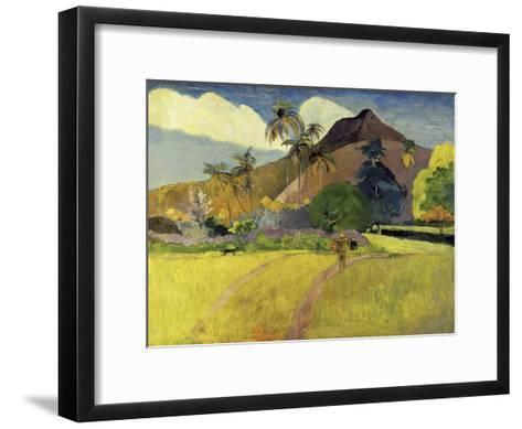 Tahitian Landscape with a Mountain-Paul Gauguin-Framed Art Print