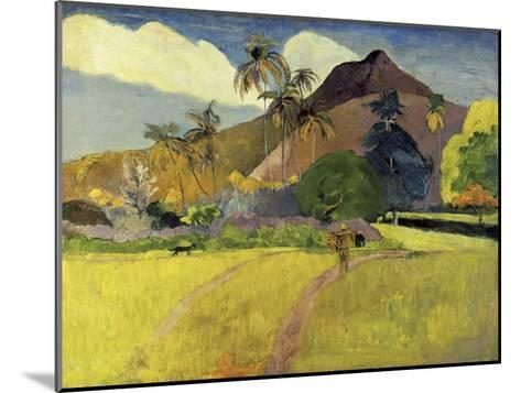 Tahitian Landscape with a Mountain-Paul Gauguin-Mounted Giclee Print