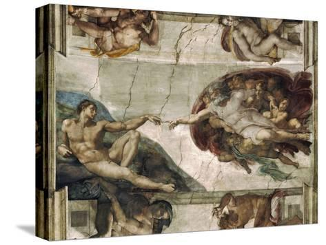 Creation of Adam-Michelangelo Buonarroti-Stretched Canvas Print