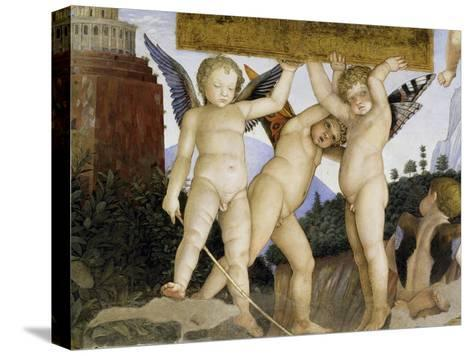 Detail of Camera Degli Sposi: Putti Holding Tablet-Andrea Mantegna-Stretched Canvas Print