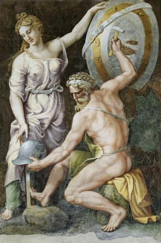 Vulcan Forging Armour For Achilles-Giulio Romano-Stretched Canvas Print
