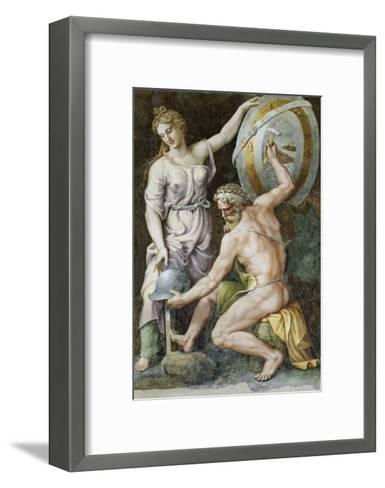 Vulcan Forging Armour For Achilles-Giulio Romano-Framed Art Print