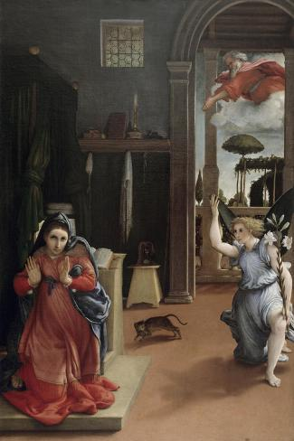 Annunciation-Lorenzo Lotto-Stretched Canvas Print