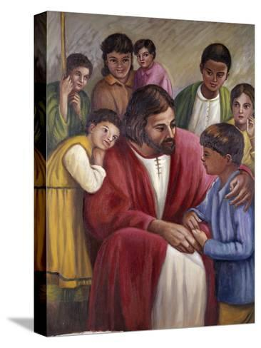Christ and the Children of All Races-Vittorio Bianchini-Stretched Canvas Print