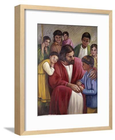 Christ and the Children of All Races-Vittorio Bianchini-Framed Art Print