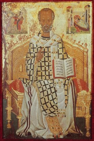 Saint Nicolas-Michael Damaskenos-Stretched Canvas Print