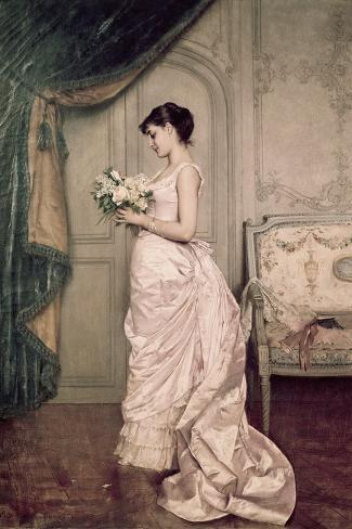 You Are My Valentine, Love Letter with Roses-Auguste Toulmouche-Stretched Canvas Print