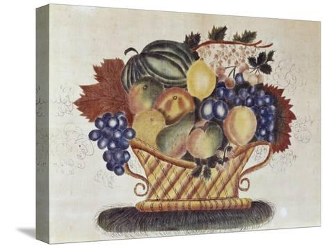 Fruit Filled Basket, Pennsylvania Dutch, 19th century--Stretched Canvas Print