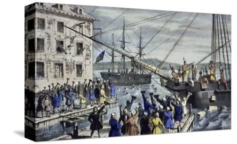 Destruction of Tea at Boston Harbor-Currier & Ives-Stretched Canvas Print