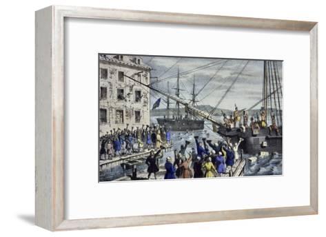 Destruction of Tea at Boston Harbor-Currier & Ives-Framed Art Print