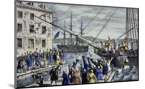 Destruction of Tea at Boston Harbor-Currier & Ives-Mounted Giclee Print