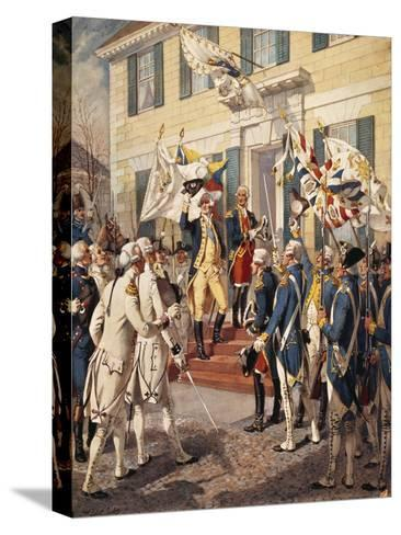 Washington Visiting Rochambeau at French Embassy-H^a^ Ogden-Stretched Canvas Print