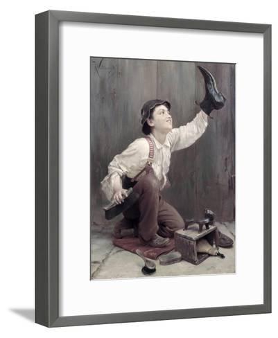Shoeshine Boy-Karl Witkowski-Framed Art Print