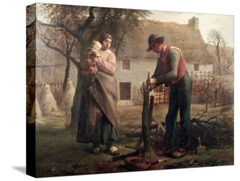 Peasant Grafting a Tree-Jean-Fran?ois Millet-Stretched Canvas Print