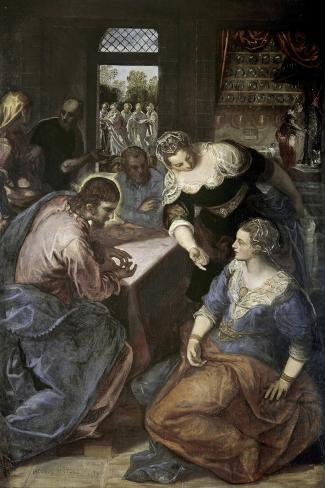 Christ in the House of Mary and Martha-Jacopo Robusti Tintoretto-Stretched Canvas Print