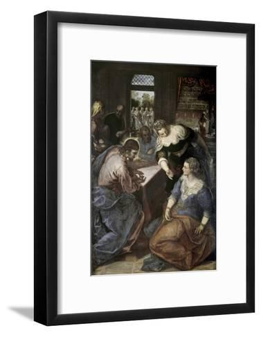 Christ in the House of Mary and Martha-Jacopo Robusti Tintoretto-Framed Art Print
